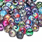 50 PCS Snap Jewelry Charms Glass Snap Button Set Fancy DIY Accessories for Crafts Sewing Arcade Women (KZHM065) (Color: Kzhm065, Tamaño: 18mm)