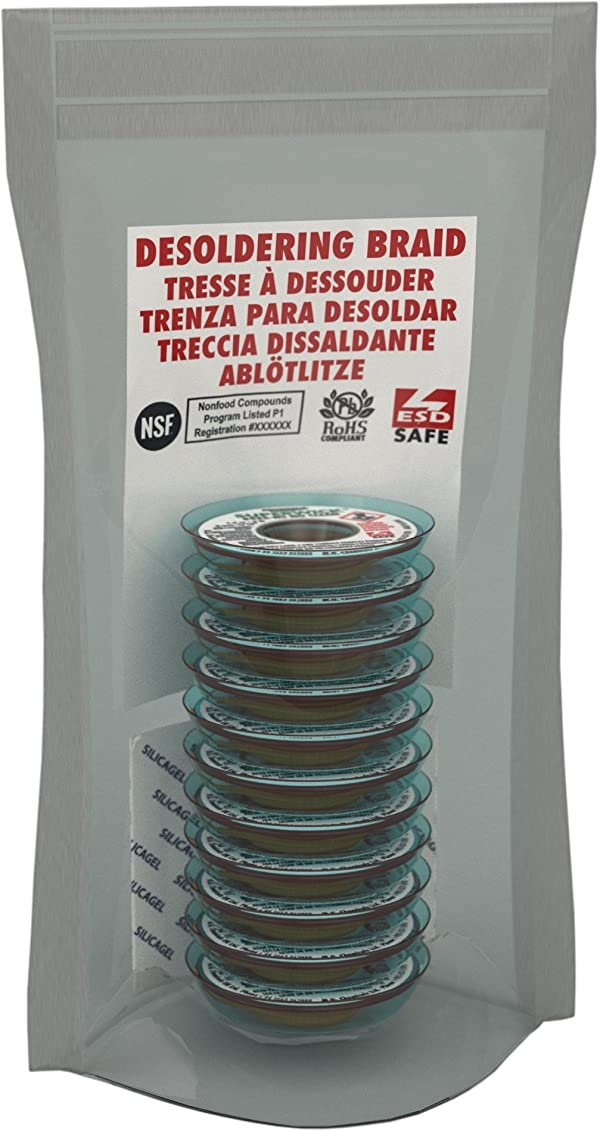 MG Chemicals Desoldering Braid #3 No Clean Fine Braid Super Wick with RMA Flux, 5' Length x 0.075 Width (Pack of 10)