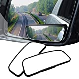AUDEW 2 Pack Square Blind Spot Mirror 360? ABS Glass For All Universal Vehicles Car Fit Stick-on Design