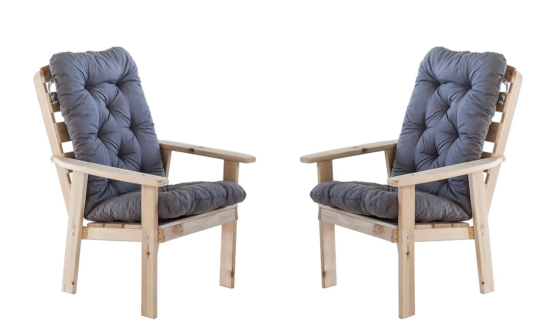 Ambientehome 90386 Gartensessel Gartenstuhl Loungesessel 2-er Set Massivholz Hanko Maxi Natur mit Kissen, grau günstig