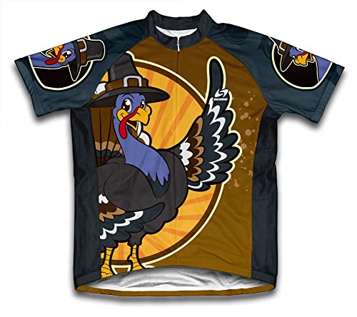thanksgiving cycling jersey with pilgrim turkey