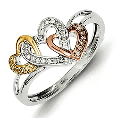Sterling Silver and 14k Yellow Rose Gold Diamonds Three Heart Ring - Ring Size Options Range: L to P