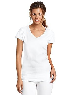 Dickies Girl Juniors Short Sleeve V-Neck Tee,White,Large