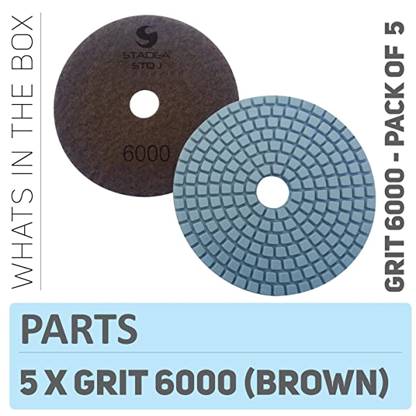 Stadea PPW145D Diamond Polishing Pads 4 Inch - For Concrete Terrazzo Marble Granite Countertop Floor Edge Wet Polishing, Grit 6000 - Pack of 5 (Color: Pack of 05, Tamaño: Pos8 Grit 6000)