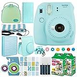 Fujifilm instax mini 9 Instant Film Camera (Ice Blue) + Fujifilm Instax Mini Twin Pack Instant (40 Shots) + Case + Scrapbook Album + Colored Filters + Camera Sticker + Neck Strap – Full Accessory Kit (Color: Ice Blue)