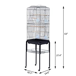 PawHut 63 Metal Indoor Bird Cage Starter Kit with Detachable Rolling Stand, Storage Basket, and Accessories - Black (Color: BLACK, Tamaño: 63)