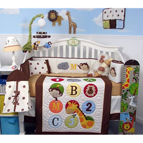 SoHo 123 Giraffe Baby Crib Nursery Bedding Set 13 pcs included Diaper Bag with Changing Pad & Bottle Case