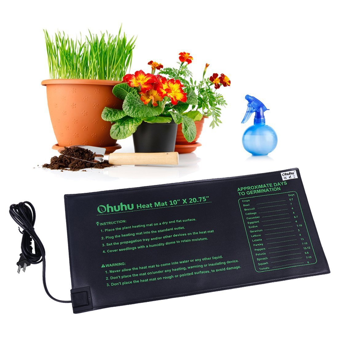 "Plant Heating Mats, Ohuhu Seedling Heating Mat, IP67 Waterproof Plant Warm Mat, 18W Hydroponic Heating Pad for Indoor Seedling and Germination, 10"" x 20.75"""