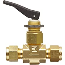 Parker VQ Series Brass Toggle Valve, Inline, Toggle Handle, PTFE Stem, CPI Compression Fitting