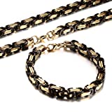 Men's Stainless Steel Mechanic Gold Plated Black Chunky Byzantine Chain Bracelet and Necklace Set, 9