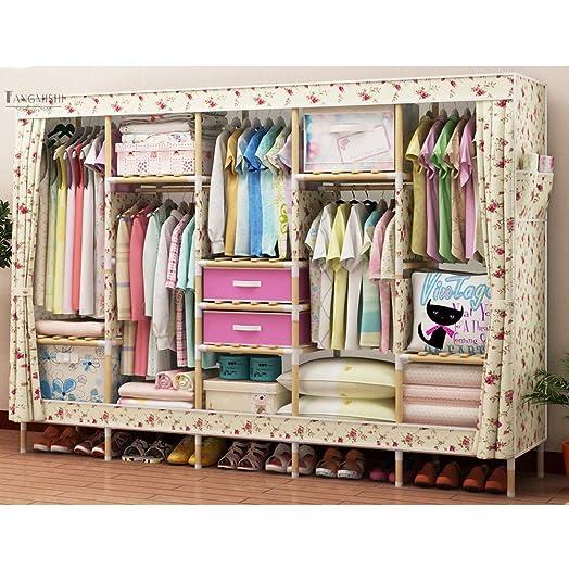 """Pieghevole armadio guardaroba armadio di stoccaggio semplice armadio panno in legno massello doppio per inviare 2 scatola di immagazzinaggio, 82 * 67 """"(210 * 170), H"""