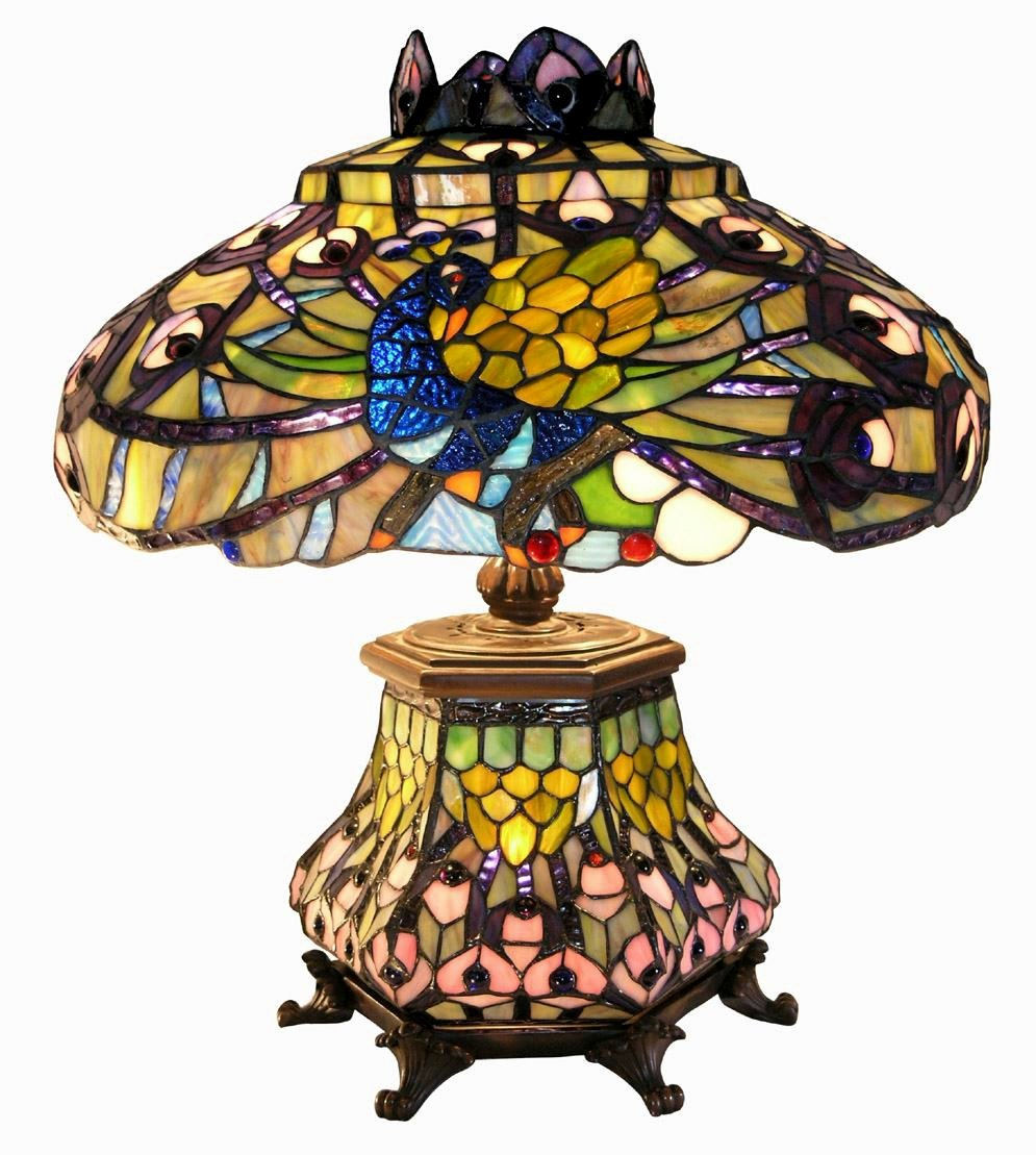 Warehouse of Tiffany 2954#LSH Tiffany-style Peacock Lantern Table Lamp