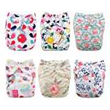 Babygoal Baby Reusable Cloth Diapers,One Size Adjustable Pocket Nappy for Girl, 6pcs Diapers+6pcs Microfiber Inserts+One Wet Bag 6FG03