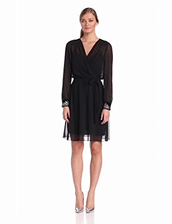 Donna Morgan Women's Mock Wrap Dress with Long Sleeve and Velvet Beaded Cuff, Black, 10