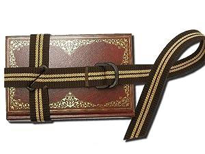 森製紐 オリジナル ブックバンド テキストブックロック 3cm幅 金属不使用 (茶)