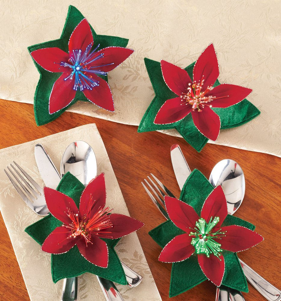 Set Of 4 Fiber Optic Poinsettia Holiday Flatware Holders