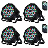 LUNSY Stage Lighting 36LED, DJ Par Can Lights, Uplights Indoor for Wedding, Remote and DMX Control, Sound Activated RGB Party Lights- 4 Pack (Color: 4 pack)