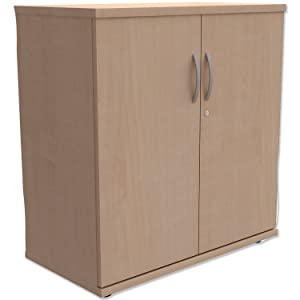 Trexus Low Cupboard with Lockable Doors W800xD420xH853mm Maple       Office ProductsCustomer review and more information
