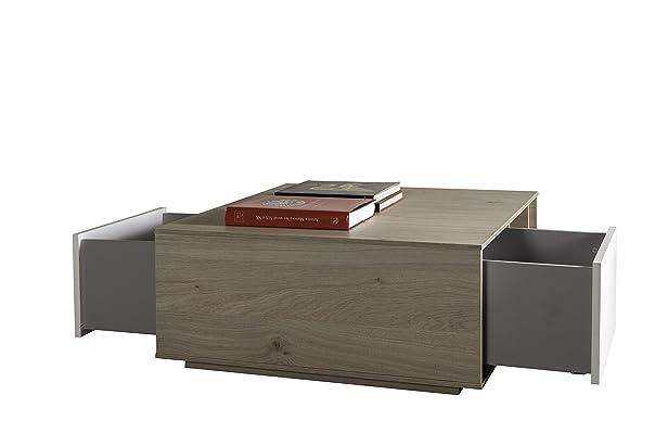 Composad Saturnia tavolino con cassetti, legno, rovere/bianco