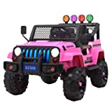 Uenjoy Jeep Kids Ride on Cars Jeep Wrangler Electric Power Motorized Vehicles w/ Remote Control, Spring Suspension Wheels, Music& Story Playing, Colorful Lights, Sunshine Model, Pink (Color: Pink)