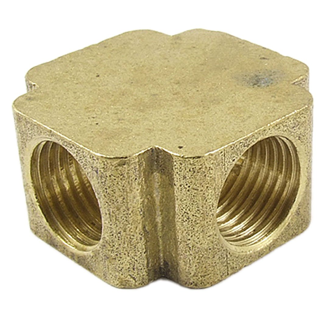 "Amico Brass 1/4"" NPT Female Thread 4 Ways Cross Connector Pipe Adapter Coupler Gold Tone"