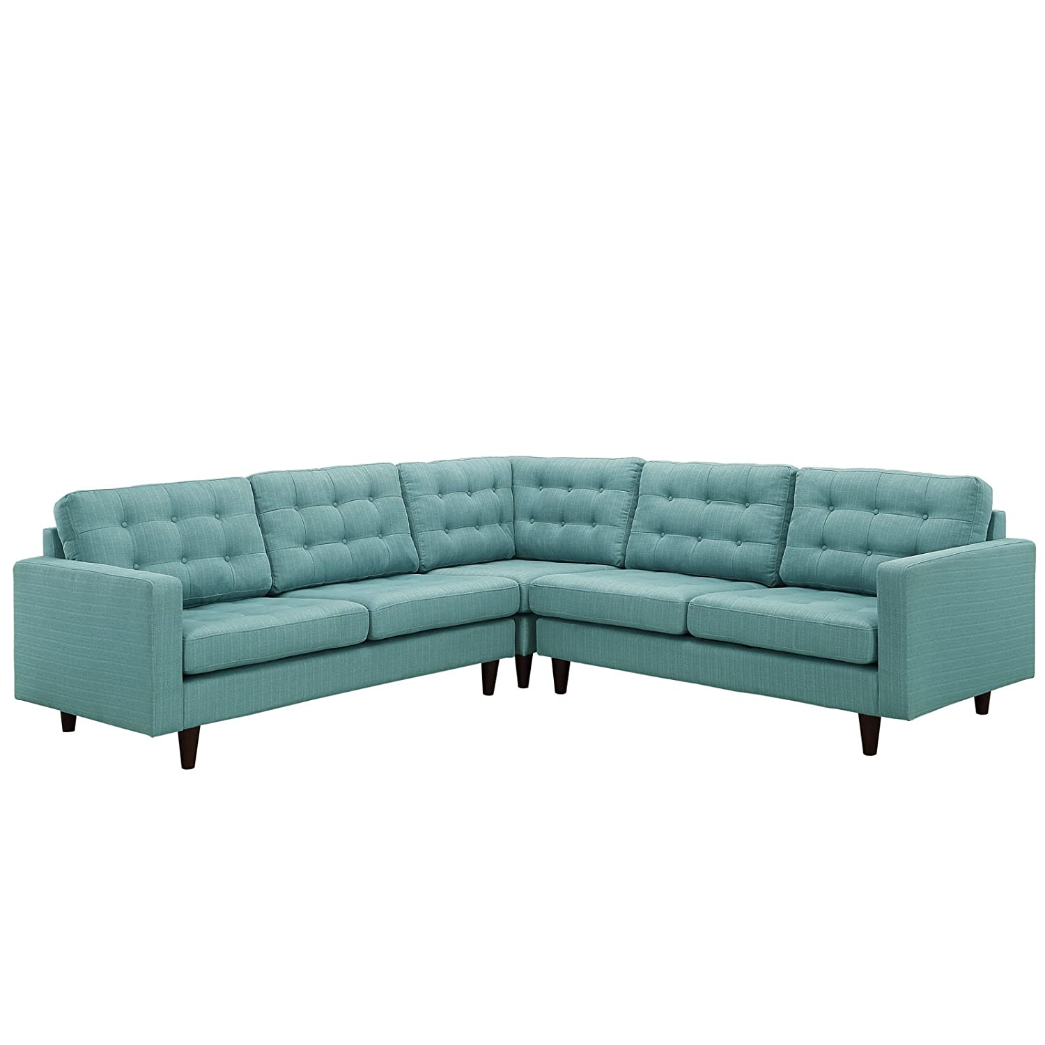 LexMod Empress 3 Piece Fabric Sectional Sofa Set in Laguna