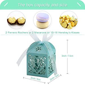 COTOPHER 100 Pack Love Heart Laser Cut Candy Boxes Wedding Party Favor Boxes Small Gift Boxes for Wedding Bridal Shower Baby Shower Birthday Party (100, Lake Blue) (Color: Lake Blue)