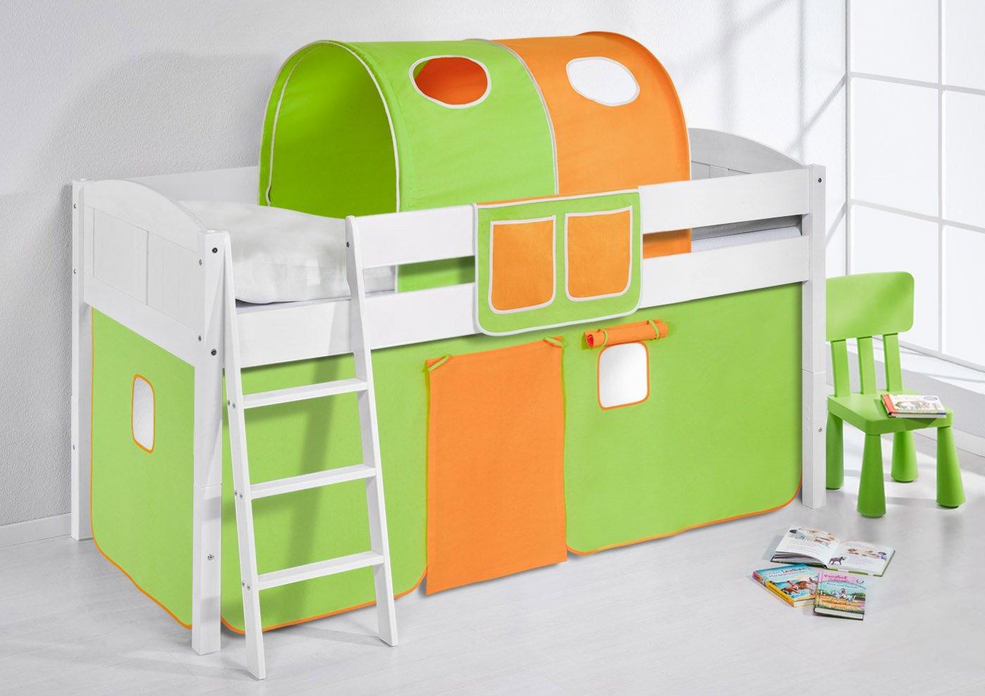 Spielbett IDA 4106 Grün Orange Lilokids Teilbares Systemhochbett LILOKIDS Weiß mit Vorhang Grün-Orange kiefer günstig kaufen