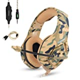 ONIKUMA Stereo Gaming Headset Work for PC PS4 Xbox One Controller,Camo Over Ear Headphones with Noise Canceling Microphone,Soft Memory Earmuffs for Laptop Mac-Camouflage (Color: camouflage)