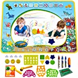 Scientoy Doodle Mat, Water Drawing Mat (40x30 inches), Mess Free Magic Mat with 3 Magic Pens, 4 Stamps, 25 Packed Drawing Accessories for Boy and Girl, Best Paint Board Toy, Gift for 1 2 3 4 5