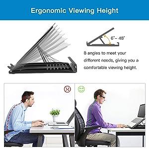 HUANUO Adjustable Laptop Stand Riser for Desk, Fits Up to 15.6 inch Notebook, Mesh Ventilated Laptop Cooling Stand with 8 Tilt Levels (Color: Black, Tamaño: big)
