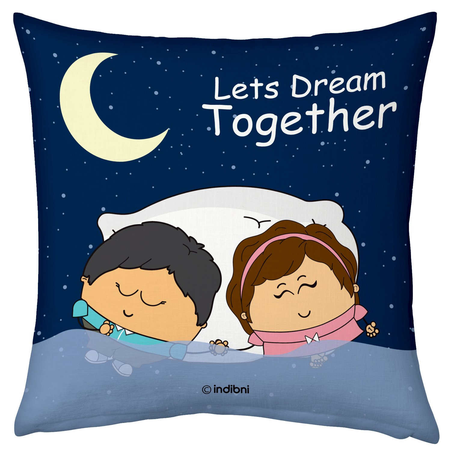 Valentine Gifts for Boyfriend Girlfriend Blue 12X12 Printed Filled Cushion Cute Couple Dreaming Together Gift for Him Her Fiance Spouse Husband Wife Birthday Anniversary Everyday by indibni