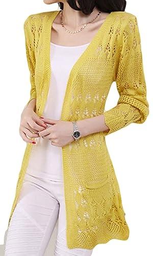 SKCUTE Sweater Knitting cardigan Long knitting casual sweater Yellow