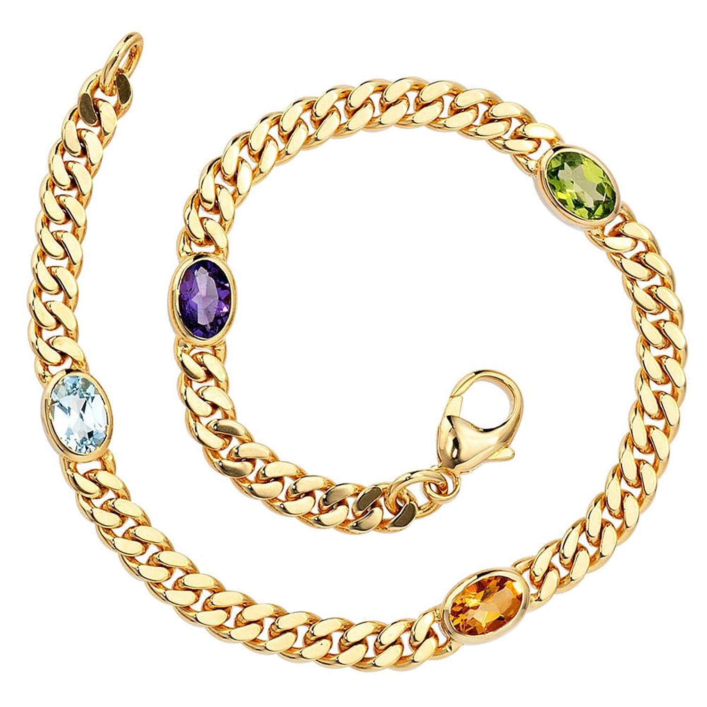 Damen Gold Armband 585 Gold Gelbgold 19 cm Amethyst Aquamarin Citrin Peridot Karabiner günstig online kaufen