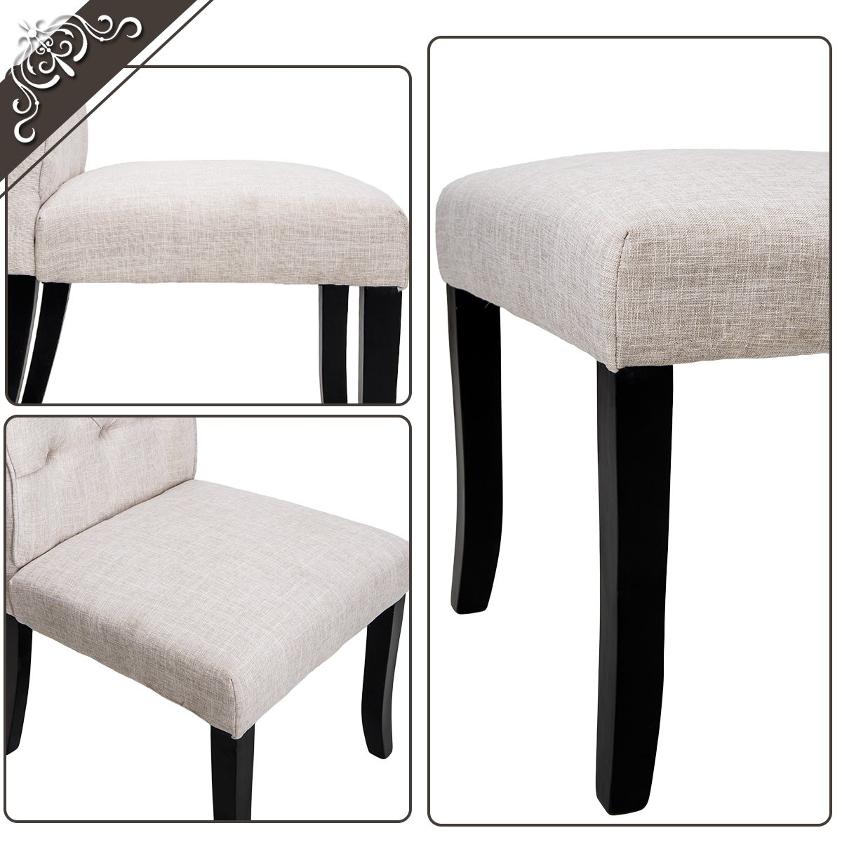 Harper&Bright Design Tufted Arm Dining Accent Chair, Set of 2 (Beige)