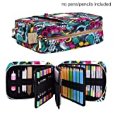 Pencil Case Holder Slot - Holds 202 Colored Pencils or 136 Gel Pens with Zipper Closure - Large Capacity Pen Organizer for Watercolor Pens & Markers | Perfect Gift for Students & Artist blossom (Color: blossom202)