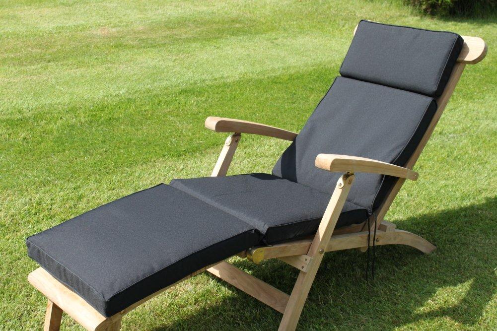 Gartenmöbel-Auflage - Auflage für Liegestuhl in Schwarz
