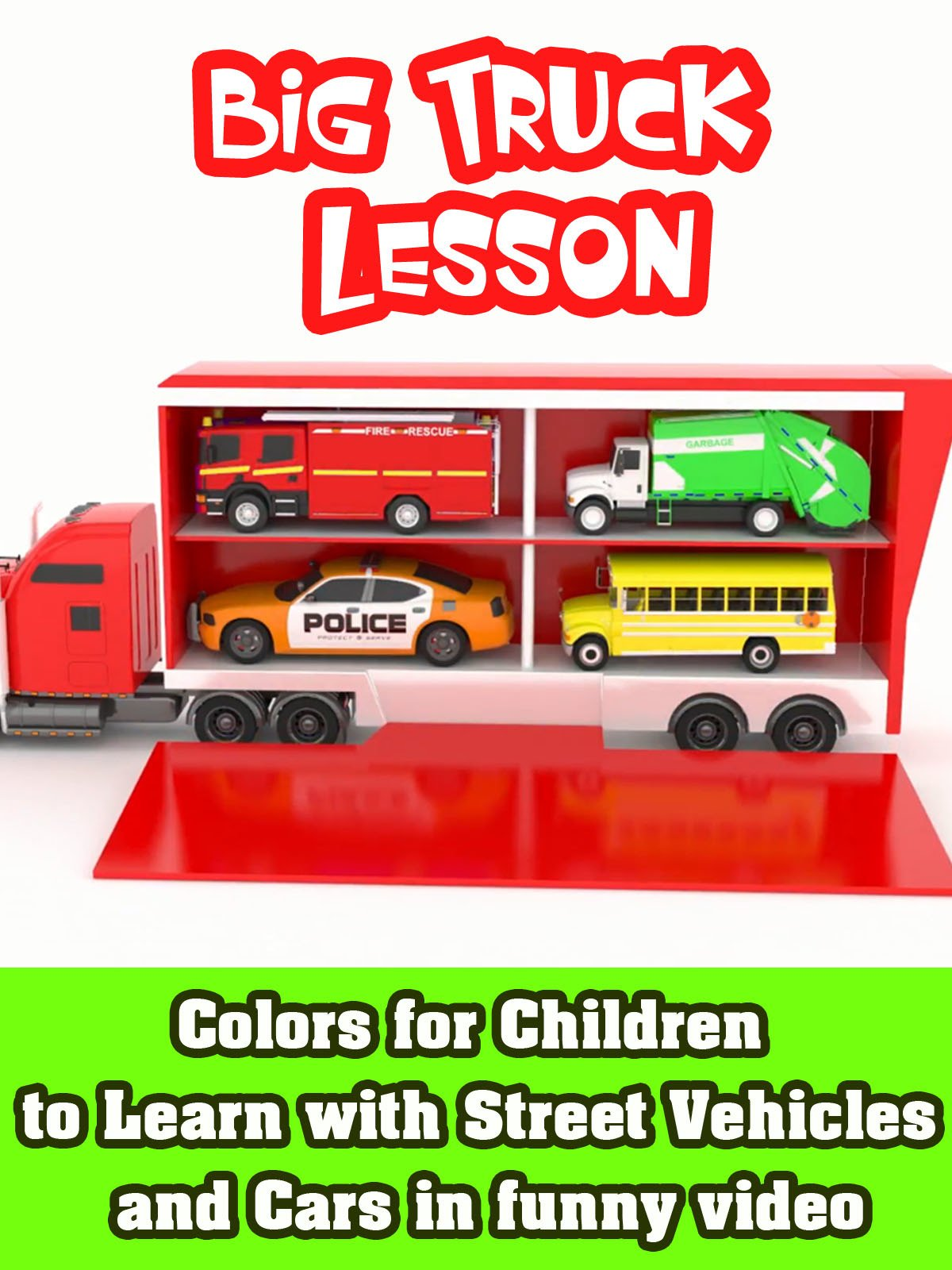 Colors for Children to Learn with Street Vehicles and Cars in funny video