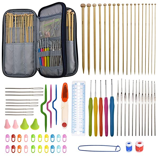 94 Pieces Crochet Hooks & Knitting Needles Set Kit - Portable Case, Contains All The Kntting & Crochet Accessories Fit Any Projects, Ideal Gift for Mom Grandma Girfriend (Tamaño: Large kit)