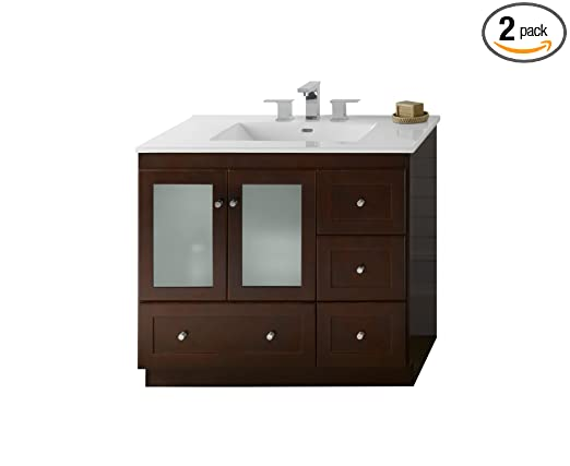 Ronbow 081936-1L-H01_Kit_1 Shaker Bathroom Vanity Set in Dark Cherry with White Kara Ceramic Sinktop, 36""