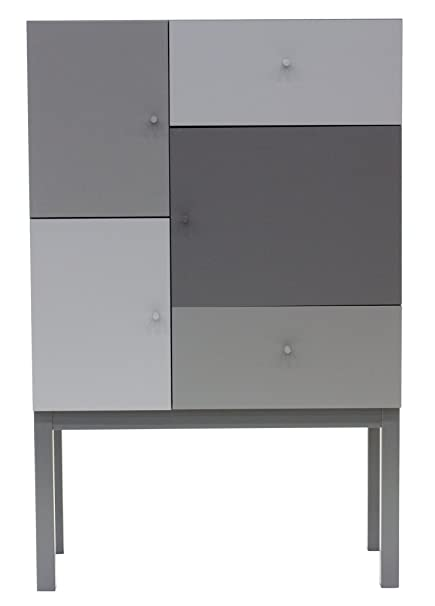 Tenzo 1972-807 Color - Designer Schrank, grau mix, lackiert, matt, 123 x 79 x 36 cm (HxBxT)