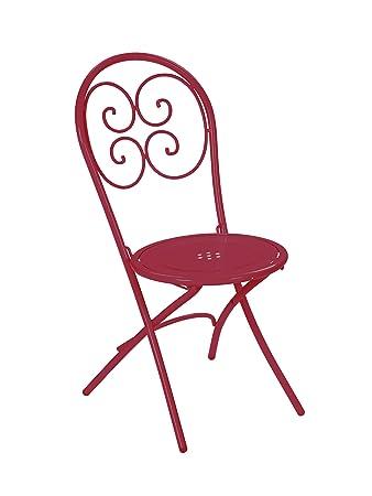 Emu 309244400 Pigalle Klappstuhl 924, pulverbeschichteter Stahl, 4-er Set, rot