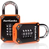 2 Pack FortLocks Gym Locker Lock - 4 Digit, Heavy Duty, Hardened Stainless Steel, Weatherproof and Outdoor Combination Padlock - Easy to Read Numbers - Resettable and Cut Proof Combo Code - Orange (Color: 2 Pack - Black/Orange)