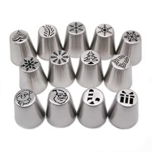 Aozer Russian Piping Tips Set Christmas Design - 14pcs Cake Cupcake Decorating Supplies Kit - 12 Icing Christmas Nozzles 1 Coupler and 1 Pastry Bags (Color: Silver)