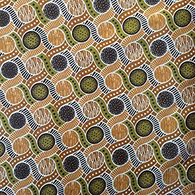 African Fabric Cotton Wax Print Marble Brown 44'' wide By The Yard