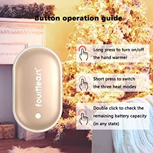 Fourheart Hand Warmers, 5200mAh Portable Double-Side Hand Warmer Rechargeable/Power Bank for iPhone,Samsung,Helps for Soothe The Pain and Uncomfortable of Arthritis Sufferers, Best Winter Gift (Color: Gold, Tamaño: Type USB)