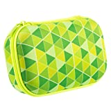 ZIPIT Colorz Pencil Case/Pencil Box/Storage Box/Cosmetic Makeup Bag, Green (Color: Green Triangles)