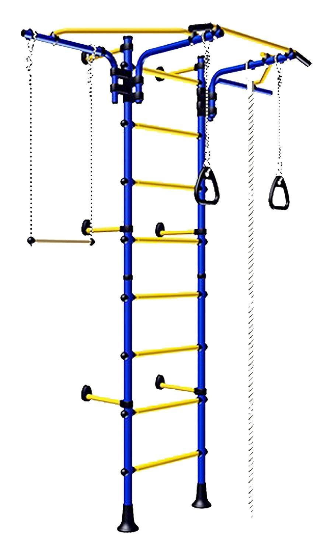 (Blau) Wand Befestigter Spielplatz Set für Kinder / Innen- Training Sport Set mit Zubehör Equipment: Trapez Stange Schaukel, Climber, Klettertau, Springseil, Turnringe – Comet Next 2 günstig bestellen