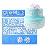 Anyana set of 2 sugar edible cake silicone fondant impression lace mat cake decorating mold gum paste cupcake topper tool icing candy imprint baking moulds sugarcraft music note musical ensemble (Color: set of 2 sugar edible musical lace)
