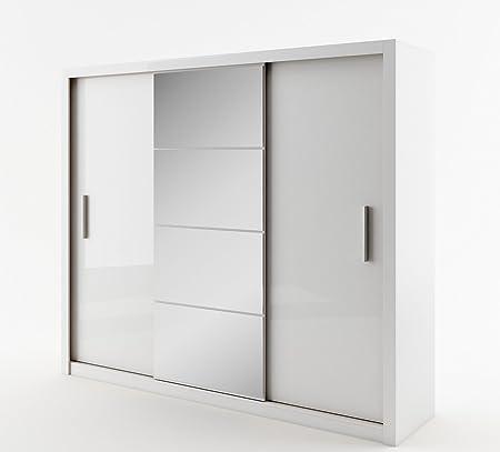 Schwebeturenschrank Kleiderschrank ID-01 IDEA Garderobe Schrank mit Spiegel (weiß matt)